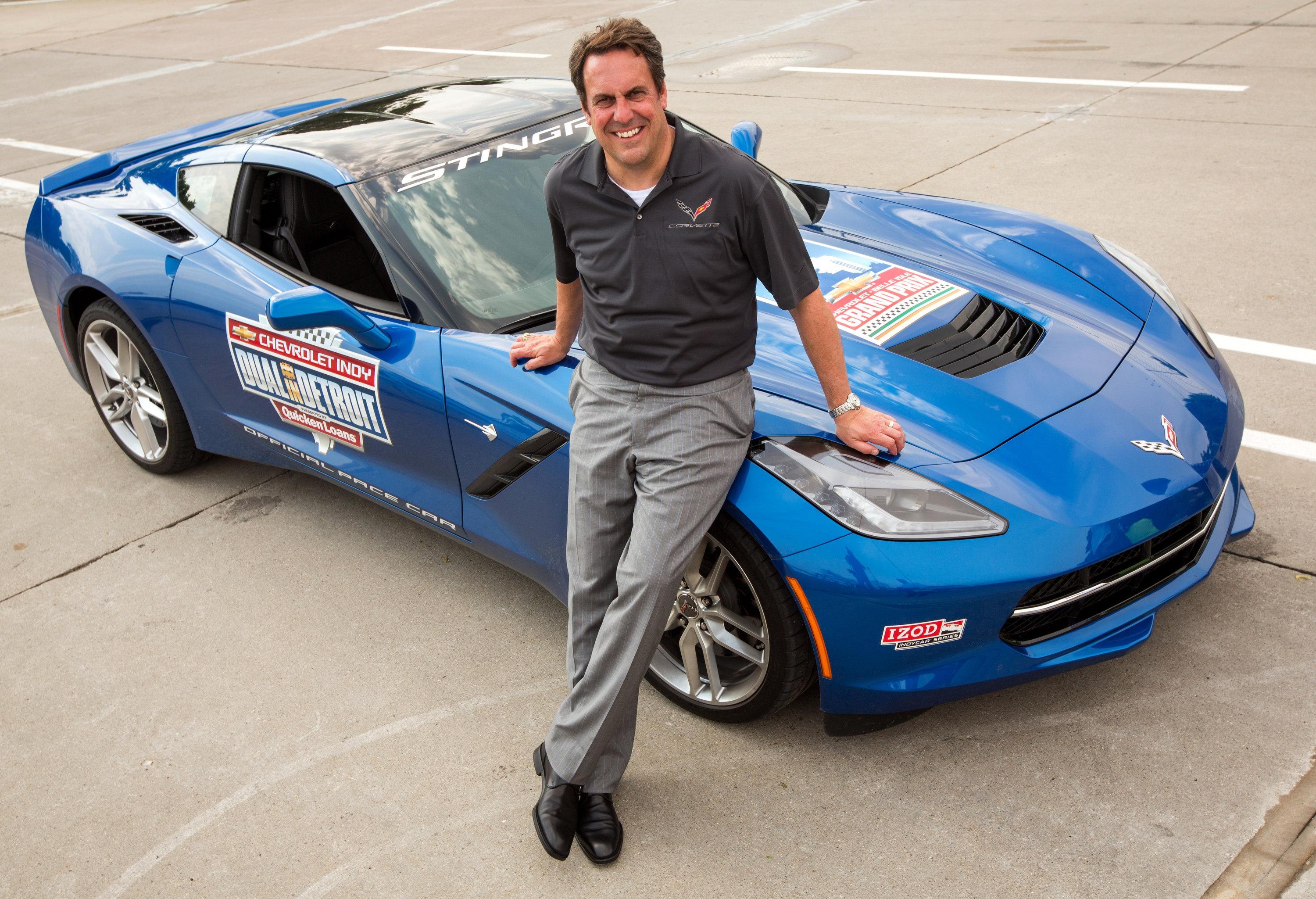 Mark Reuss Drives the 2014 Corvette Stingray Pace at the Indy Dual in Detroit