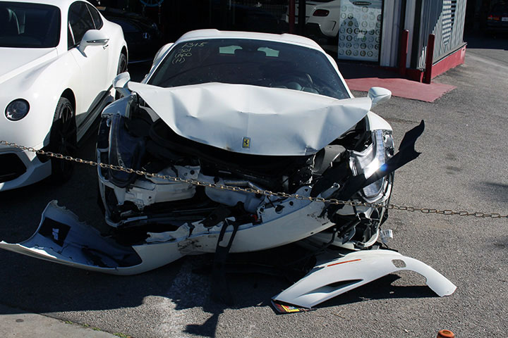 Wrecked up Ferrari 458 Waiting to be Repaired